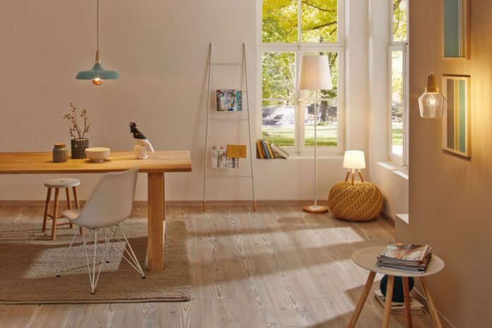 Skandinavische Lampen in Wohnraum